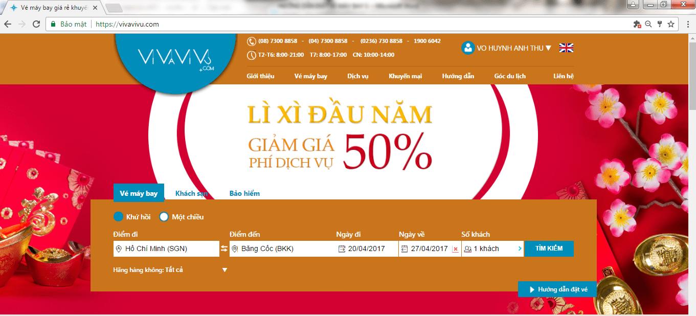 Hướng dẫn đặt vé máy bay trên Vivavivu